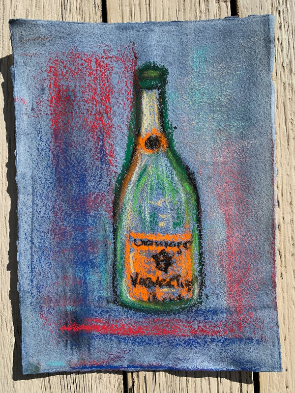 Champaign bottle pastel painting