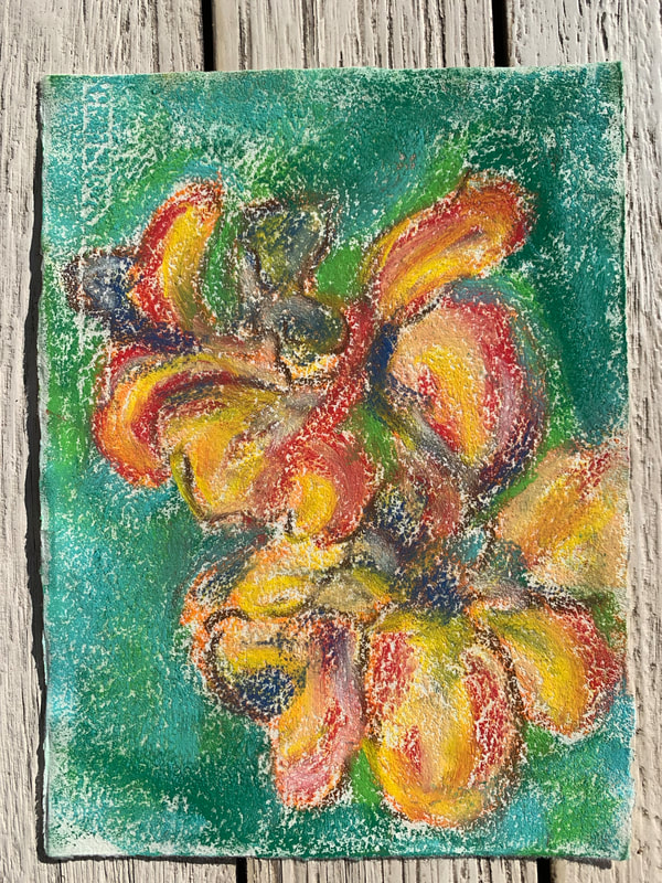 Orchids flowers pastel painting