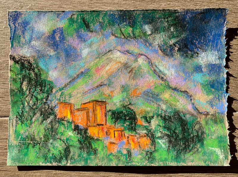 After Cezanne pastel painting of a mountain
