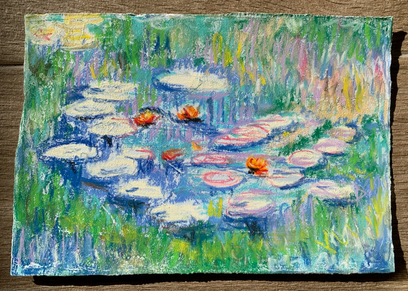 After Monet pastel painting of water lilies
