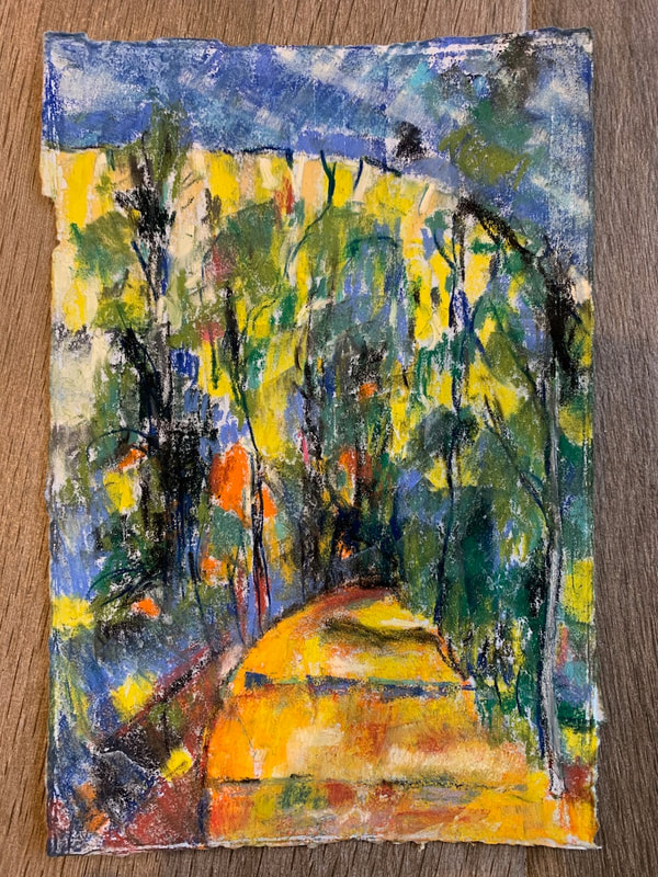 After Cezanne pastel painting of forest landscape