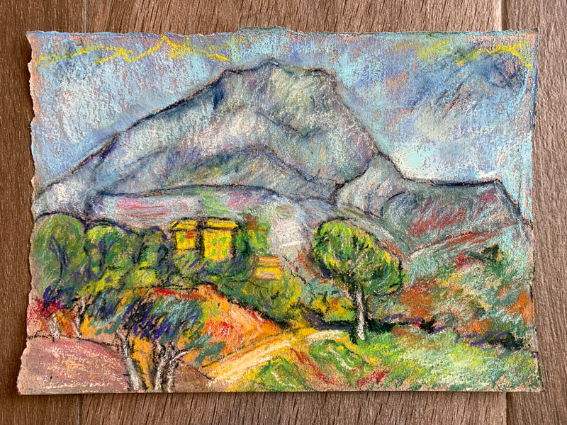 After Cezanne pastel painting of mountain, hills and landscape
