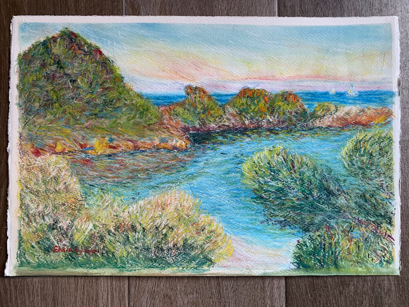 After Monet pastel painting of Monaco landscape, ocean, beach and hills