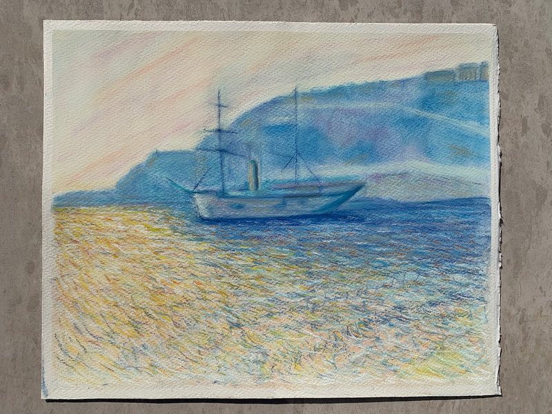 After Monet pastel painting of Monaco Bay, boat and mountains and sea