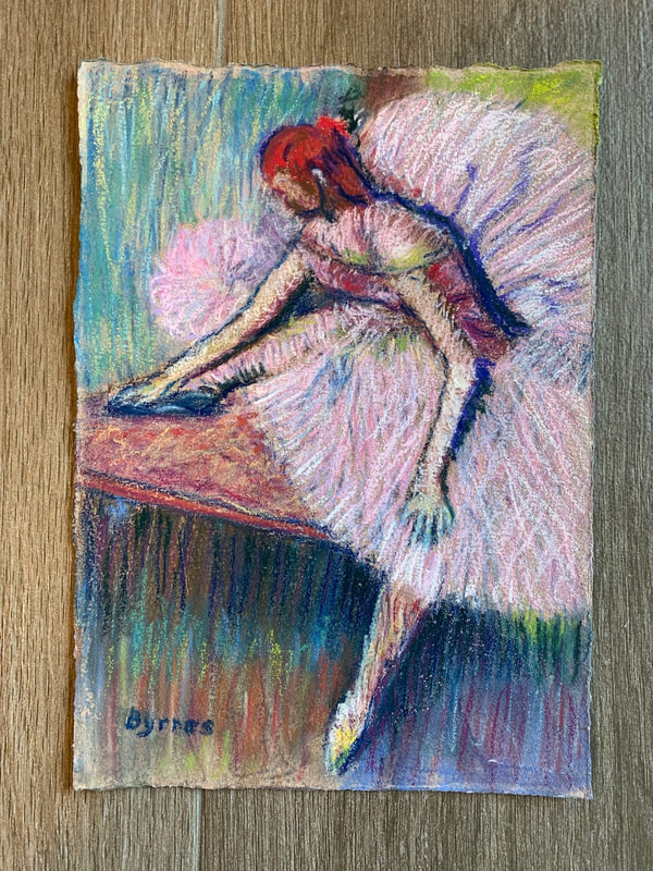 After Degas pastel painting of ballerina