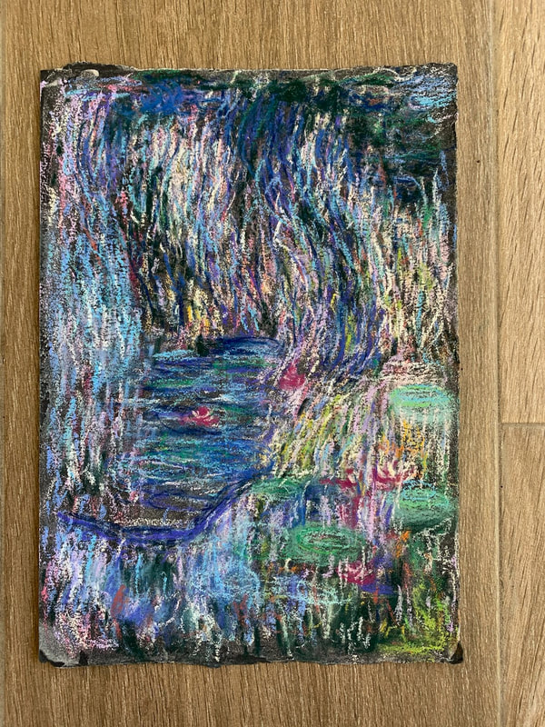 After Monet pastel painting of water lilies, garden and pond